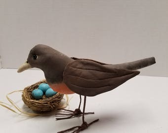 Primitive Robin Bird Decoration,Soft Sculpture Robin Bird, Spring Songbird Decoration Robin