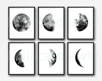 Moon Phase Print Set Of 6 Watercolor Painting Print Lunar The Moon Phases Living Room Decor Wall Decor Home Decor Wall Art Print Unframed
