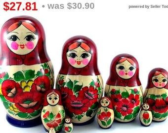 Nesting Dolls 10 pcs Russian doll Matryoshka Babushka set Wooden Stacking Handmade Suvenirnaya birthday and christmas gift