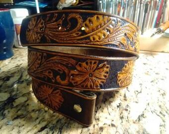 Western Sheridan Floral Tooled belt.