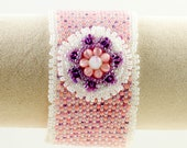 Peyote Stitch Cuff Bracelet in Pink, Lavender and White/Seed Bead Bracelet/Beaded Bracelet/Spring Colors