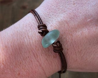 Light Blue Sea Glass Leather Bracelet - Seaglass Layering Bracelet, Real Sea Glass Jewelry, Sea Glass Bracelet, Beach Glass Bracelet
