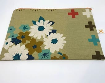 Sale! Zipper pouch 60's Lady beige-green