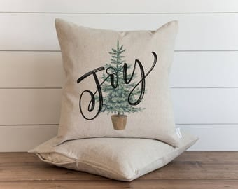 Joy Tree 20 x 20 Pillow Cover // Christmas // Holiday // Winter // Throw Pillow // Gift // Accent Pillow