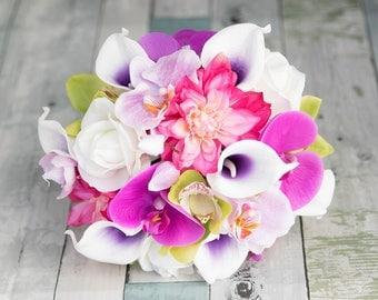 AMAZING Fuchsia Pink Wedding Silk Dahlias, Mixed Orchids, and Calas Silk Flower Bride  Spring Summer Bouquet