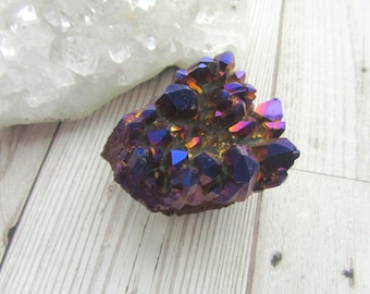 Purple Metallic Aura Quartz Cluster Gemstone Rainbow Finish Druzy Quartz