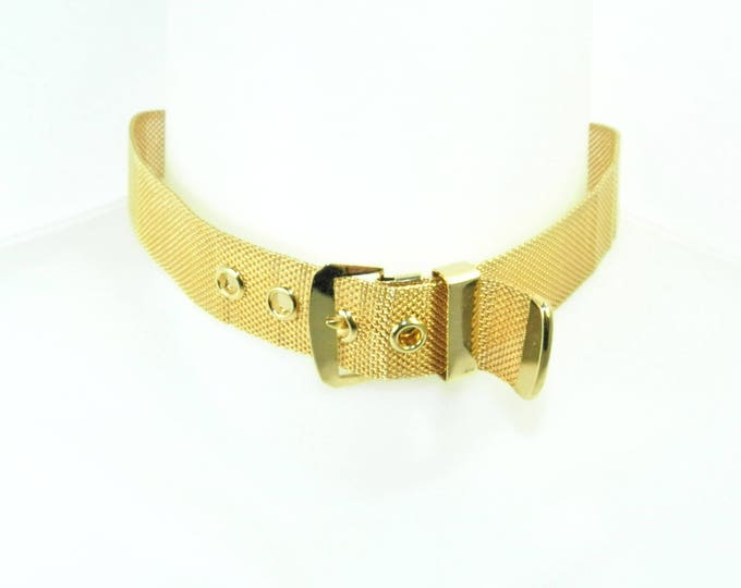 1970's 1980's Collar Choker Necklace Punk Gold Tone Mesh Buckle Collar Choker, Excellent Condition, Gift for Her, Vintage Retro Mod Jewelry