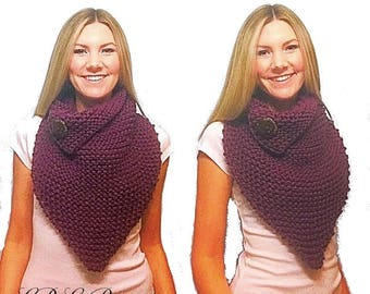 PATTERN: Sisterly Chic Button Cowl Knitting Pattern, Chunky Cowl with Button Pattern, Triangle Cowl with Button Flat, Oversize Cowl Knit