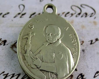 St. Paul of the Cross and Mary Help of Christians (Auxilium Christianorum) Brass Medal - Catholic Religious Medal