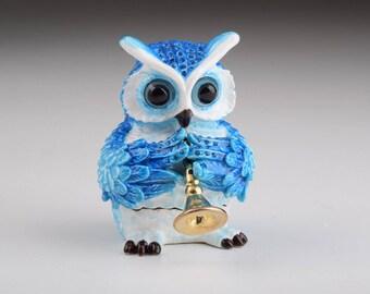 Blue Owl Playing Trumpet Trinket Box Musical Figure Handmade Decorated Artwork Handmade Home Decor