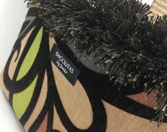 Brown Beige BAGOLITA with Flocking & Colorful, Floral Inspired Design | NEW Birdie Size!