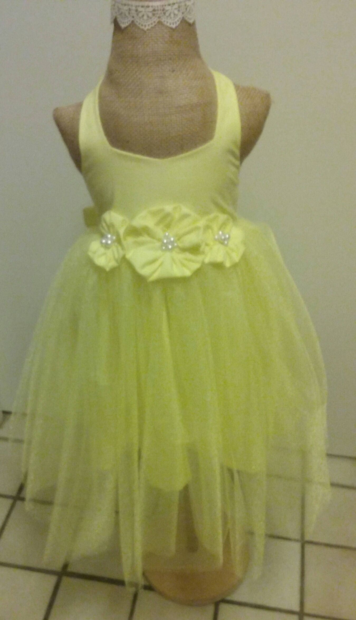 Lemon Yellow Natural Cotton Tutu Flower Girl Dress Fabric Flowers