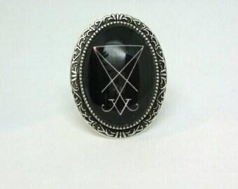 Lucifer Sigil Ring Adjustable Occult Satan