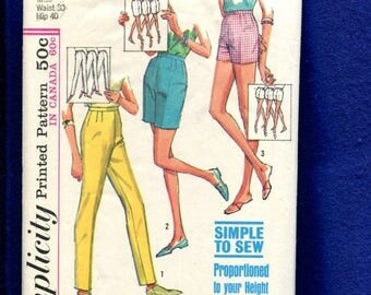 15% OFF SALE 1960's Simplicity 5973 Mid Century Tapered Leg Pants in Three Lengths Size 16