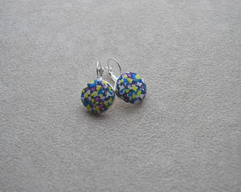 """Earrings collection""""textiles""""tone blue, yellow, pink, Liberty fabric buttons"""