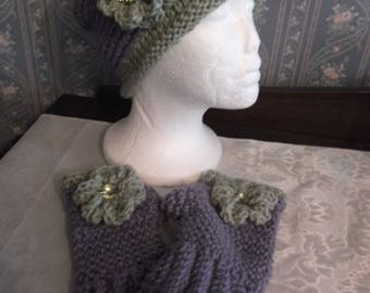 Pretty Purple/Sage Green Handmade Knitted/Crochet Slouch Hat And Fingerless Gloves