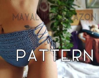 Crochet panties/Bikini bottom/High waisted underwear/Lace up/70s crochet fashion ~ Written pattern