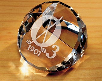 Crystal Faceted Paperweight