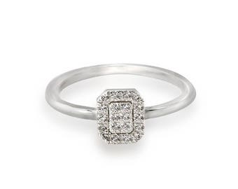 14K  white  Gold  Ring in vintage classic style and 20 diamond 1 mm. 0.10 TW