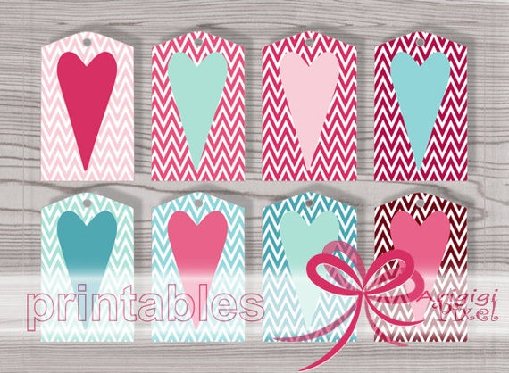 Printable Gift Tags, Pink Valentines Tags, Pink and Blue Chevron with Stretched Hearts, word template, PDF PNG download