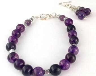Purple bracelet, Purple bead bracelet, Violet bracelet for her, Gemstone bracelet, Boho bracelet, Violet jewelry, Amethyst jewelry, Violet