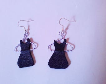 small earrings dress on hanger black leather