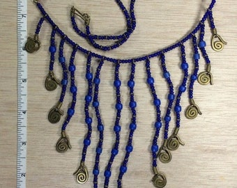 """10% OFF 3 day sale Vintage 20"""" Cobalt Blue Beaded Brass Accent Necklace Used"""