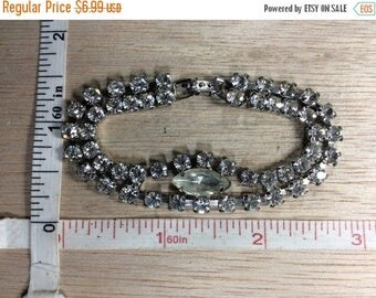 """10% OFF 3 day sale Vintage 6.75"""" Silver Toned Two Strand Rhinestone Bracelet Used"""