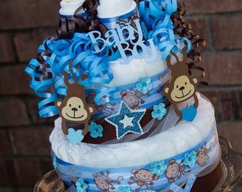 Monkey Baby Shower - Diaper Cake - Monkey Boy Diaper Cake - Blue and Brown Monkey Diaper Cake - It's a Boy