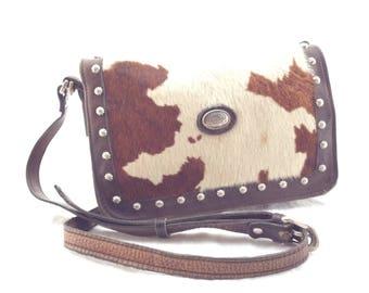 Pony fur western cowboy leather bag studded American West crossbody
