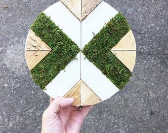 Faux Moss, Mini Wood Round, Home Decor