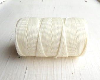 White 4ply Irish waxed linen cord (10 yards), Irish waxed linen, irish waxed linen thread, white linen cord, uk, 4ply cord