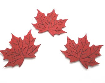 3 maple leaves, felt, 8x7 cm * COLOUR CHOICE * (F01-0003AXXX)