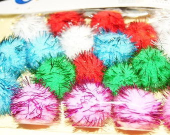 20 POM POMS Colorful Glitter (240)
