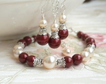 Marsala Color Pearl Bridesmaid Jewelry Set Crystal Rhinestone Bridesmaid Jewelry Gift Burgundy Set Of necklace earrings and bracelet MS077