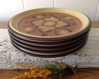 5 Noritake Folkstone Safari Salad, Side, Small Plates, Mid Century Japanese Stoneware Plates, Set Of 5