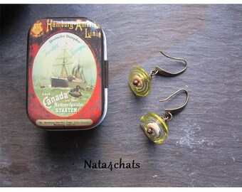Yellow Lampwork bead earrings, bronze