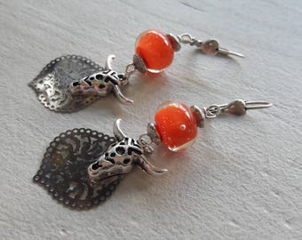 Bohemian earrings, Orange beads, Lampwork, ethnic trend, Taurus