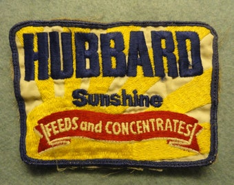 Hubbard Sunshine Feeds and Concentrates Vintage  Patch - FREE Shipping