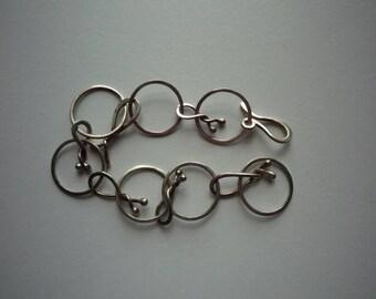 Vintage Sterling Silver Artisan Hand Made Chain Link Bracelet