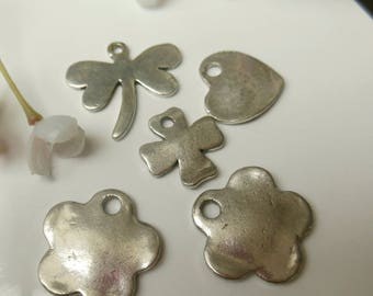 set of 5 silver metal charms