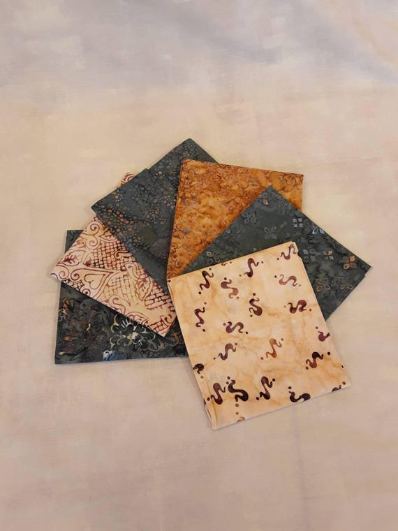 Batik Textiles Fat Quarter Bundle of 6 Hand Cut Complimentary Colors. Group 6GT Rustic Grey and Cream With Hint of Golden Mauve Brown Prints
