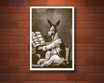 Goya drawings, paintings, etching reproduction, Donkey, Los caprichos, Hasta su abuelo, Francisco Goya FINE ART PRINT, old masters prints