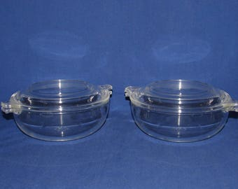 Pyrex 019 SMALL CASSEROLE DISH Set of 2 with Lids