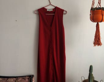 Vintage red maxi dress maison Simons Med