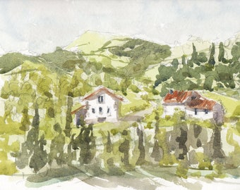 "Original watercolor painting ""Ol houses in Aspilcueta"" spain painting decor spanish watercolor original wall art"
