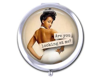 Pin up girl pocket mirror, vintage pin up compact mirror, girlfriend gift for her, African American pin up.