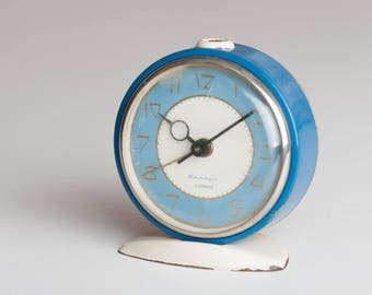 Soviet Desk Clock, Russian Alarm Clock, Soviet Union Home Decor, Office Decor Clock, Blue Alarm Clock, Baby Blue