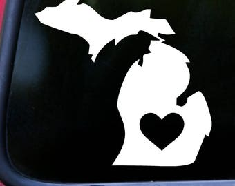 "MICHIGAN HEART State Vinyl Decal Sticker 6"" x 6"" Love MI *Free Shipping*"