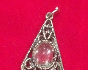 Costume jewellery silver tone and glass pendant